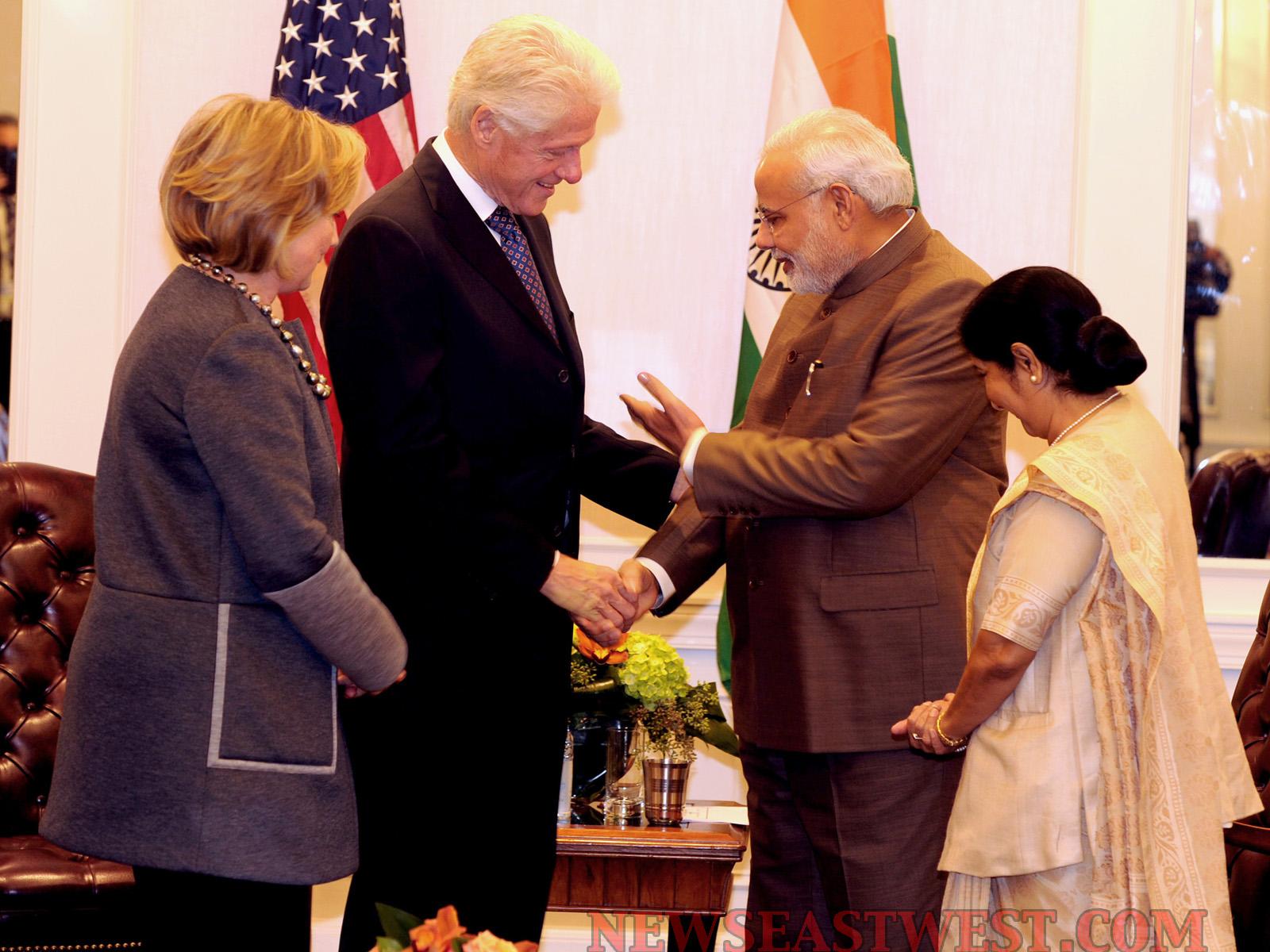 Narendra Modi meets Clintons