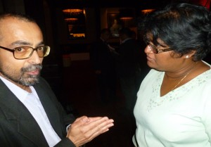 Tips for each other: South Asia Focus editor Sunil Rao talking to Canada Immigrant associate editor Gloria