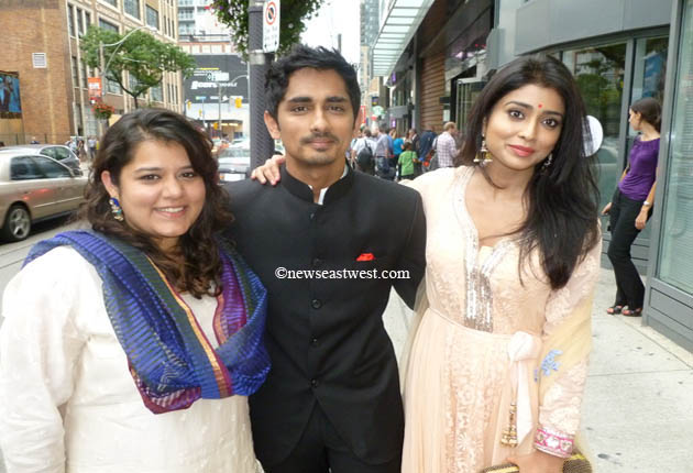 Midnight's Children stars Siddharth (centre) and Shriya Saran (right) in Toronto