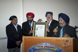 Hon Dan Logue presenting ACR 181 Resolution to community leaders - Dr Jasbir Kang, Sarb Johl and Mr Dhillon