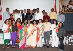 Pickering deputy mayor Doug Dikerson (seven from right in the back row) and Councillor Raymond Cho (sixth from left in the back row) pose with organizers - NYCO president Chintan Bhavsar (seventh from left in the front row) and ICCAD founder Shashi Bhatia (fifth from right) - other participants
