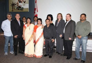 Chintan Bhavsar and Shashi Bhatia posing with Durham Regional Police Inspector Jamie Grant (second from right), MMP Tracy MacCharles (third from righ), Gujarat Newsline editor Lalit Soni (standing next to Shashi Bhatia), Ashish Pandya (extreme left) and others.