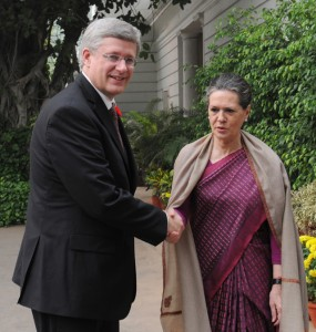 Sonia Gandhi, chairperson of the ruling UPA, meeting Stephen Harper in New Delhi on November 6
