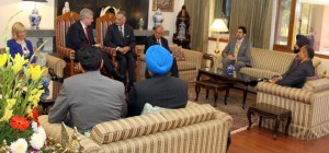 Canadian Prime Minister Stephen Harper and his wife Laureen with Punjab Governor Shivraj V. Patil at Punjab Raj Bhavan. Tim Upal (in blue turban), minister of state for democratic reforms, and Bal Gosal (to Uppal's left), minister of state for sports, are also seen in the picture