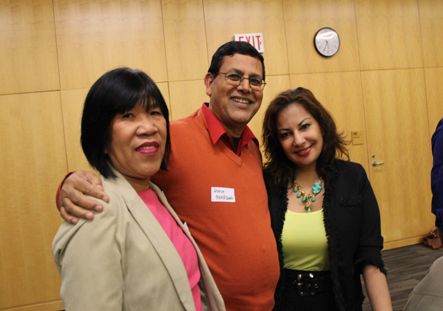 Lila Shahani (right) posing with WIN Canada president Ashok Bhargava and his wife