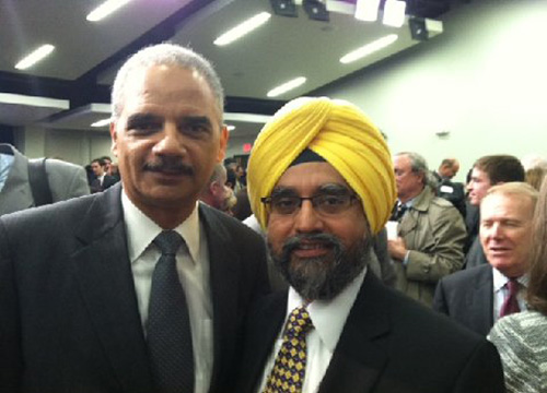 Sikh leader Rajwant Singh with US attorney general Eric Holder