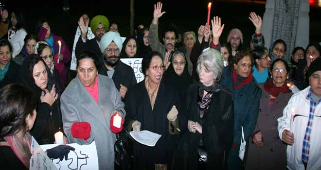 Candle-light vigil in Surrey for gangrape victim