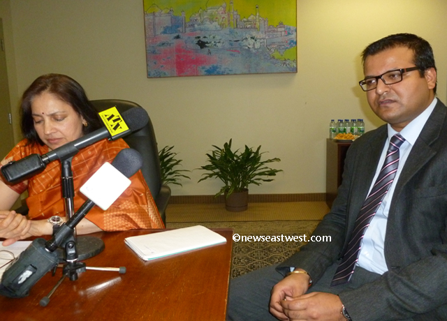 Indian consul general Preeti Saran seen with Girish Ohja of BLS International which has been hired as the new visa service provider by the Indian government