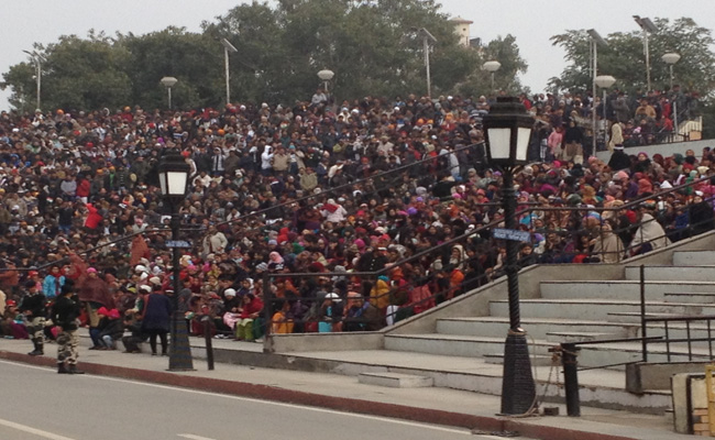 Crowds gathered on the Indian side at Wagah border to watch the evening ceremony