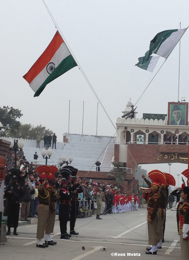 Then they unfurl their respective national flags