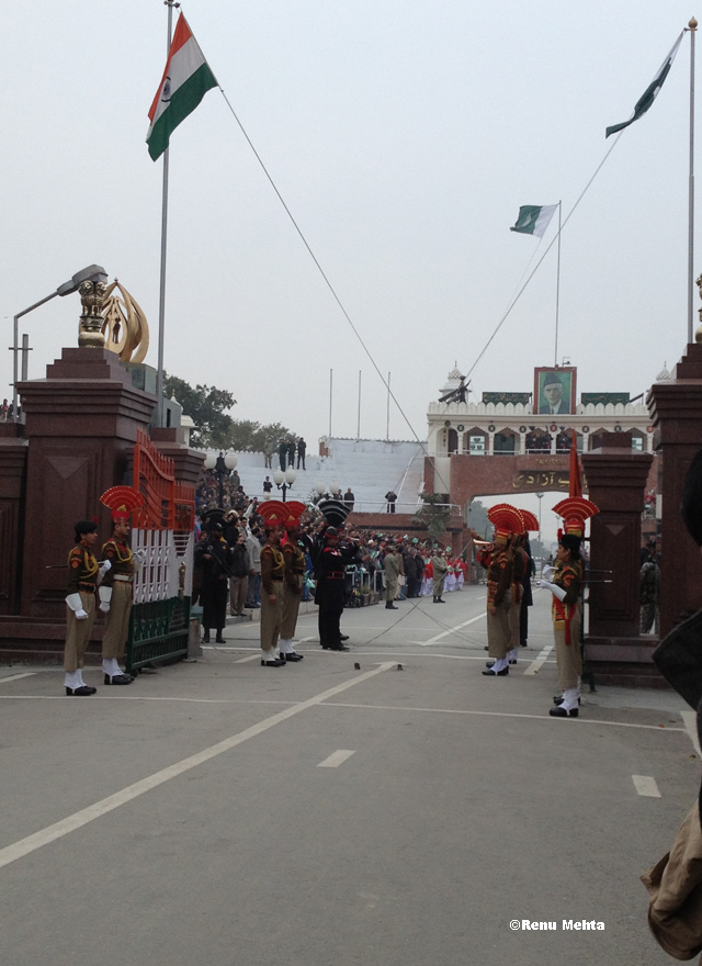Indian and Pakistani soldiers face one another for the Wagah border ceremony.Photo by Renu Mehta