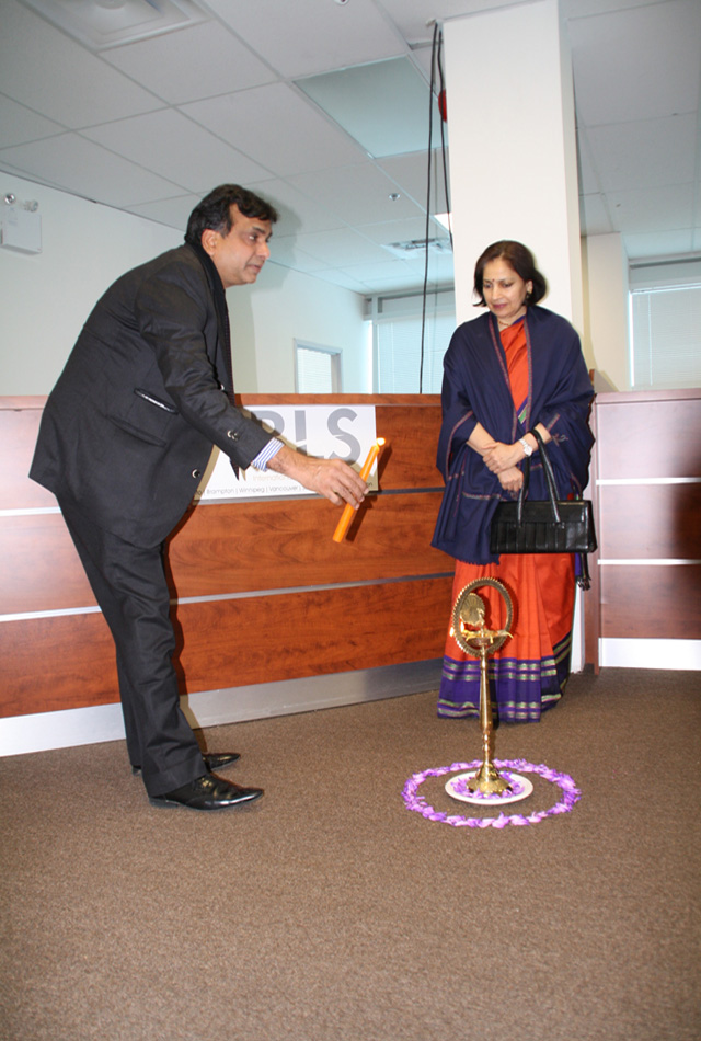Mahurat of the new Indian visa office in Brampton. Consul general Preeti Saran is to the right.