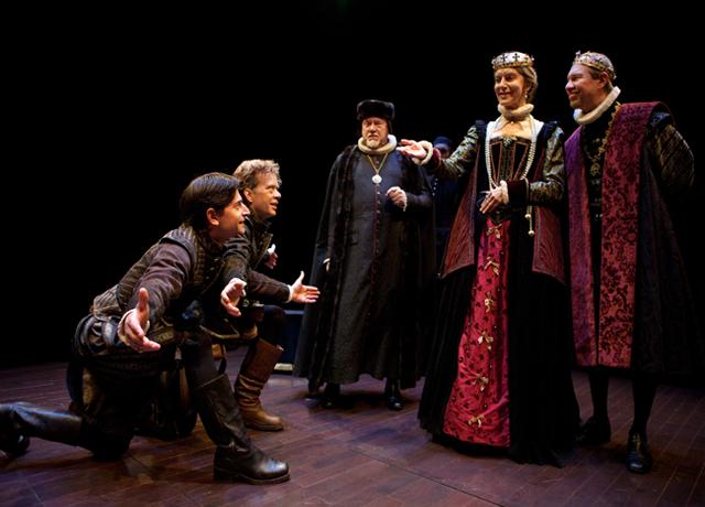 Jordan Pettle, Ted Dykstra, William Webster, Nancy Palk & Diego Matamoros in the play