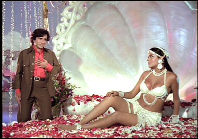 Daring-baring Zeenie baby in a scene with Shashi Kapoor in the film Satyam Shivam Sundaram