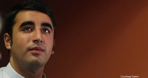 Bilawal Bhutto Zardari, son of former Pakistani Prime Minister Benazir Bhutto, waits backstage before posing in a photocall to present the documentary 'Bhutto' at the Rome Film Festival