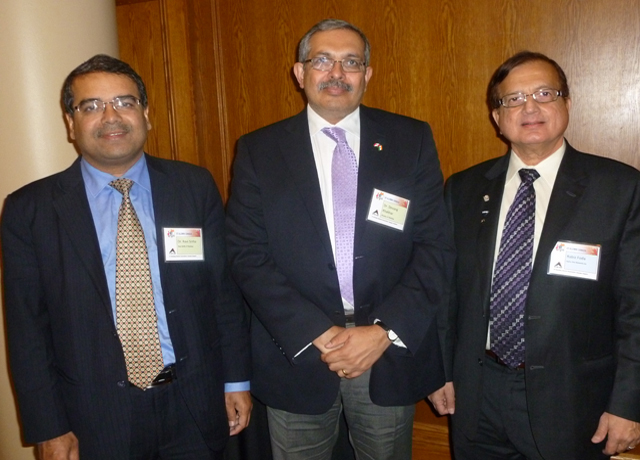 Rabiz Foda (right) with IIT Bombay director Devang Khakhar (middle) during his Toronto visit in 2012