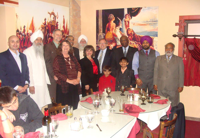 From left to right: Hector Balderas, Bhai Sahib Satpal, Mayor David Coss, Carol Coss, CG Mr. Harish, Hari Jiwan Singh, Attorney General Gary King, James Lewis, Pawan Singh Dhindsa, Mr. K. Dhindsa