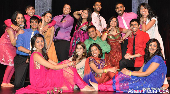 Members of the Indian Students Association of the University of Illinois, Chicago, performing at the annual India Night