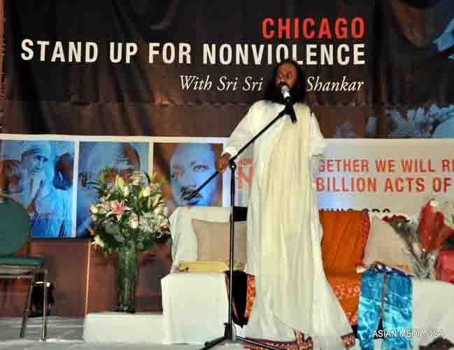 Sri Sri Ravi Shankar launches his NonVio movement to counter violence in society at a function in Chicago