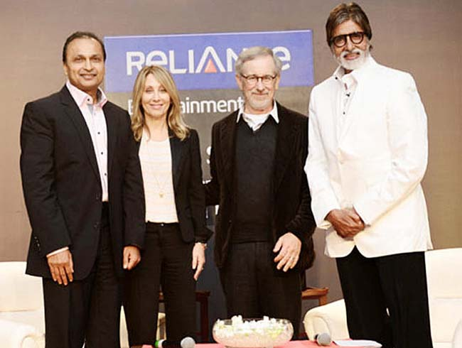 amitabh and anil ambani with spielberg