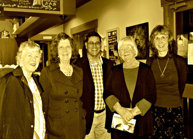 Ashok Bhargava, whose poem Fortune Cookie was the winner, poses with Bernice Lever, Janet Oakley, Carla Shafer and Betty Scott