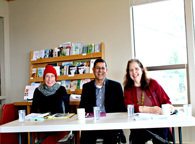 Ready to read poetry (from L-R): Lydia Swartz, Ashok Bhargava, Cindy Williams Gutierrez