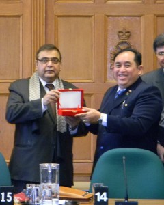 Obhrai (L) with U Thuyain Zaw, MP and  Chairman of Public Accounts Committee of the Lower House in Burma.