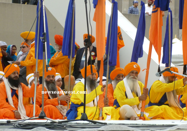 Panj Piaras who led the Khalsa Parade given prominence at the stage.