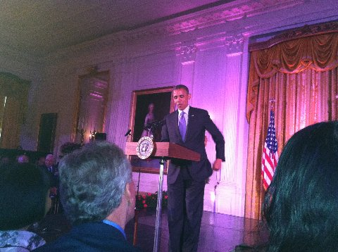 President Obama speaking at the reception for Asian-American and Pacific Islanders at the White House on May 28.