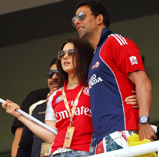 Priety Zinta seen with Akshay at an IPL cricket match