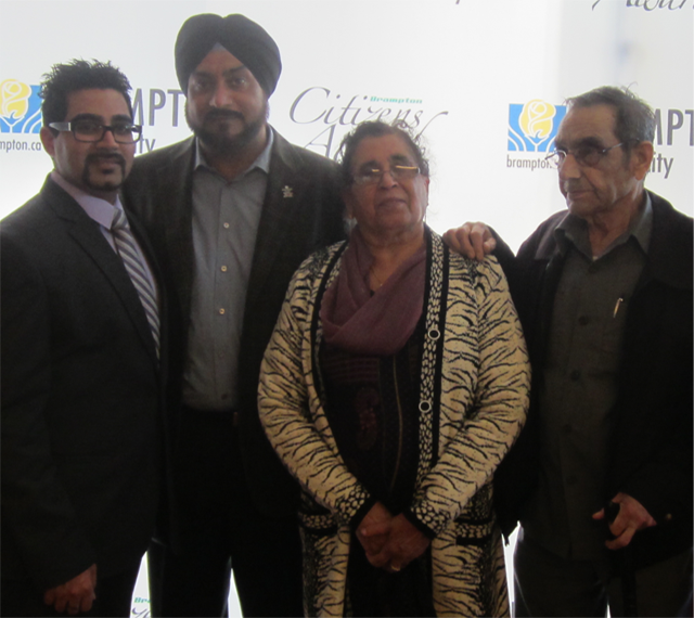 Vishal posing with Brampton Councillor Vicky Dhillon and his grandparents