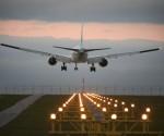 A plane landing at Toronto airport