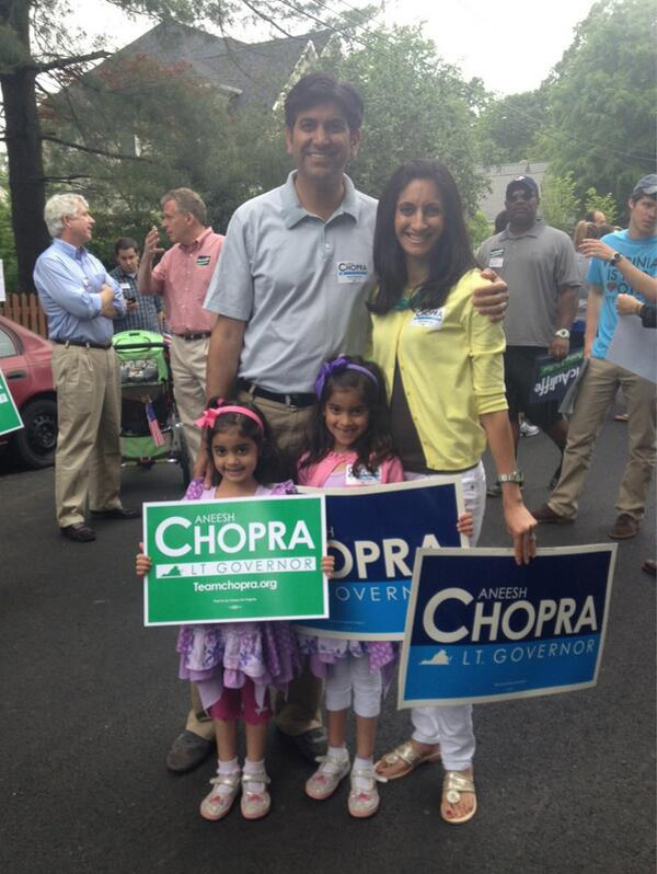 Aneesh Chopra campaigning with his family