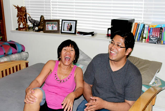 Ashok Bhargava's wife and son in laughter mode