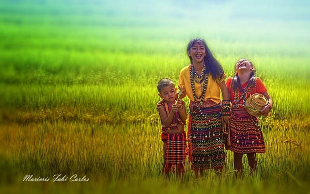 Indomitable Laughter - mother and children by Maricris Carlos