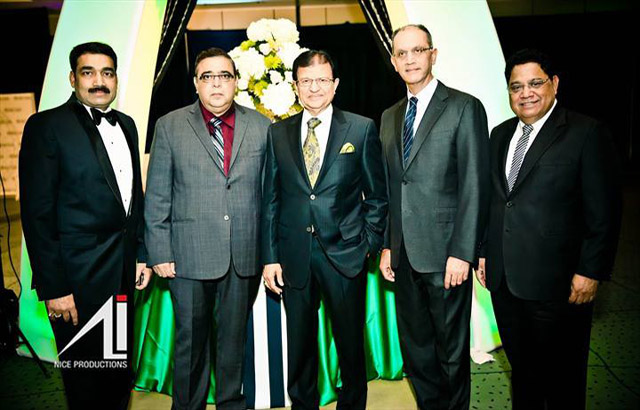 ICCC president Naval Bajaj, MP Deepak Obhrai, Steve Gupta, Deepak Ruparell andVasu Chanchlani. Photo and caption by Irfan Ali.
