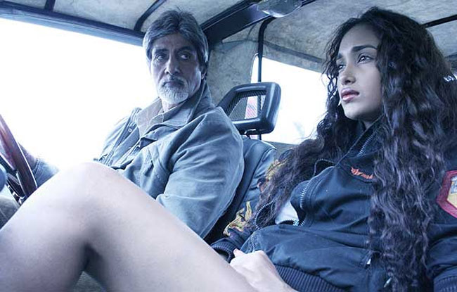 Jiah Khan seen with Amitabh in her debut film Nishabd in 2007