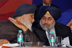 Punjab chief minister Parkash Singh Badal with son Sukhbir Badal
