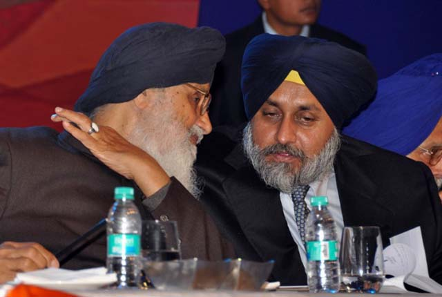 Punjab chief minister Parkash Singh Badal with son Sukhbir Badal