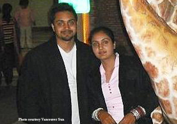 Ravinder Kaur Bhangu with her husband Manmeet Singh who has been given life term for killing her