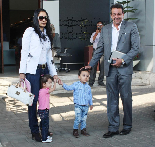 Sanjay Dutt seen with his family just weeks before he went to jail.