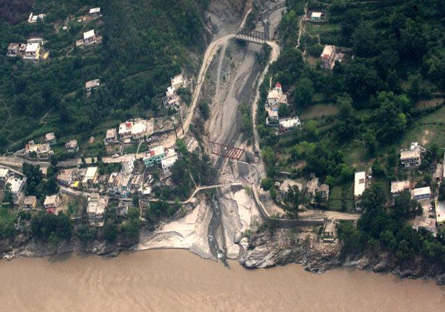 An aerial view of flood-ravaged Rudraprayag, in Uttarakhand.