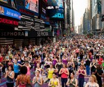Yoga in Times Square
