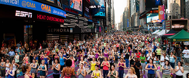 Yoga, chants of Om fill Times Square in New York