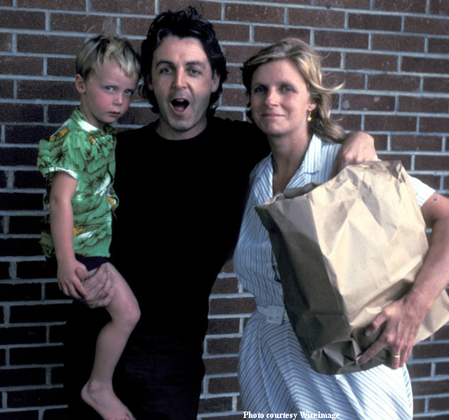 Young Paul McCartney seen with son James and wife Linda