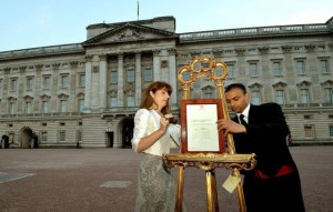 Badar Azim (right) at the Buckingham Palace announcement of royal baby's birth