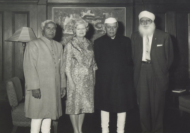 Sikh pioneer Bhagat Singh Thind (extreme right), who came to the US in July 1913, and his wife Vivian seen with Prime Minister Nehru in Delhi in June 1963. It was Thind's first visit to India after 50 years.