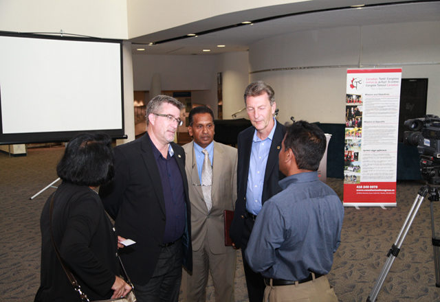 The two Toronto-area MPs in conversation with Tamil leaders.