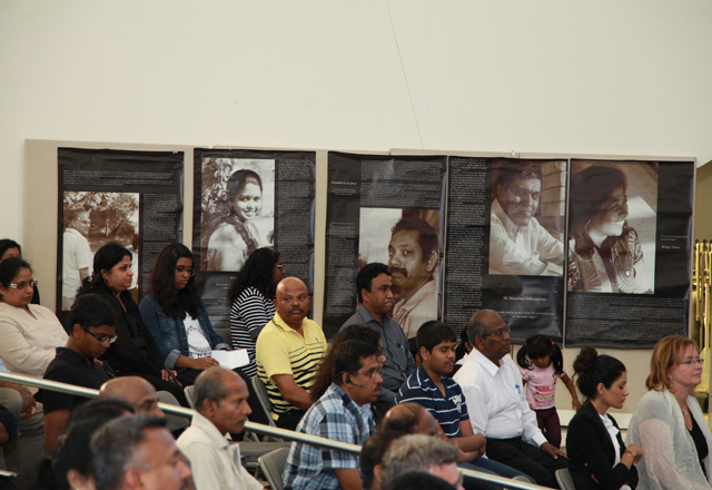 The audience, including some survivors, of Black July.