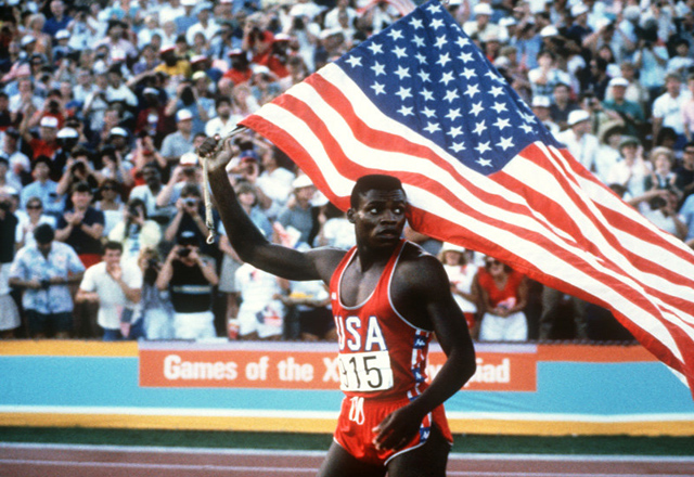 Carl Lewis, all-time American great, at the 1984 Los Angeles Olympics